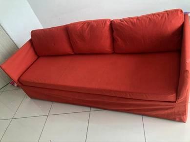 BRATHULT IKEA 3-seat sofa, Vissle red/orange 7ft