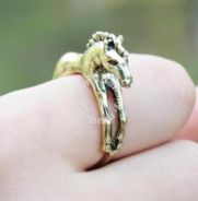 ABRB-H001 Vintage Fashion Bronze Horse Ring Sz7.75