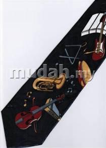 Keyboard Guitar Violin Trumpet Music DARK Neck Tie