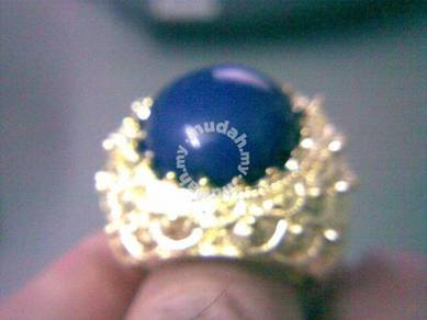 ABRGM-B002 Amazing Blue Roundness Gem Golden Ring