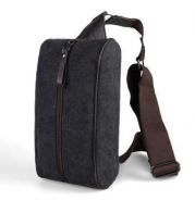 (121) Man Bag Cross Body Canvas Backpack (Black)