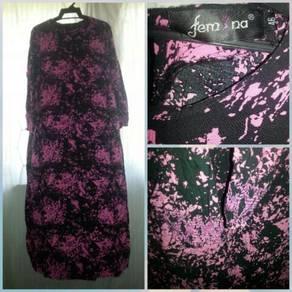 Abaya Pink Printed jubah pink