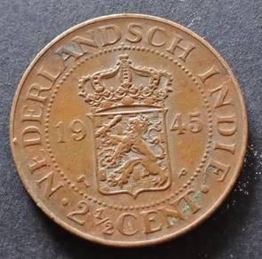 Nederlandsch Indie 2 1/2 Cent 1945 (Item D)
