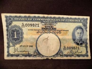 Malaya 1941 king george 1dollars