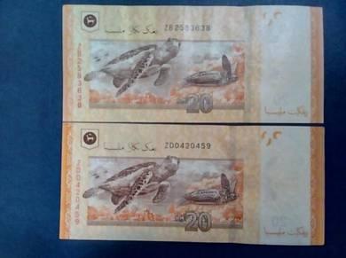 RM20 Zeti Aziz - Replacement Notes ZB&ZD -2 Pcs.EF