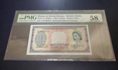 1953 Queen 1 Dollar - PMG 58