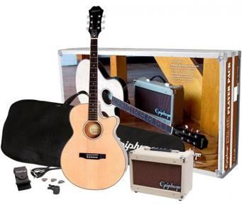 Acoustic Guitar Set Epiphone PR-4E With Amplifier