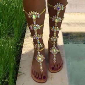 Gold blue diamond gladiator boho bohemian sandals