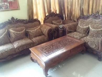Sofa 3+2+1 Beserta meja kopi - 100% kayu jati