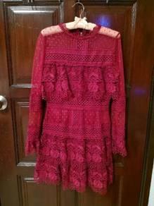 Maroon colour lace dress