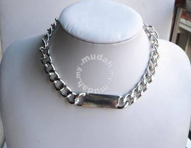 ABNSM-I001 Silver Plated Link ID Chunky Necklace