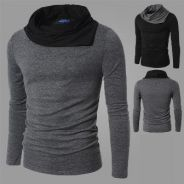Heap Collar Slim Long Sleeve T-Shirt (Dark Grey)