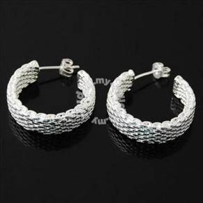 ABES9-H001 Silver 925 Hoop Mesh Earrings 7x15mm