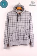 MS097 Terry Hoodie Men Plaided Sweater Jacket (D)