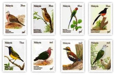 Mint Stamp Bird Definitive 8v Malaysia 2005