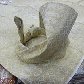 Set tengkolok off white sulam gold 01