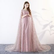 Pink glitter fishtail cape wedding dress RB0469