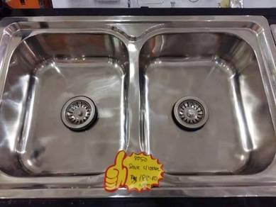 Sink s/steel double bowl