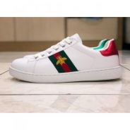 Ace Embroidered Leather Sneakers Shoes Kasut