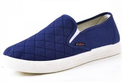 JA0248 Kasut Biru Simple Blue Slip On Loafer Shoes
