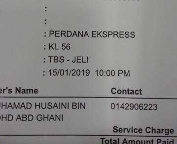 Tiket bas ke Kelantan(TBS-Jeli) 15/01/2019 10:00PM