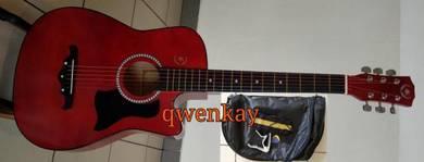 Acoustic Guitar 38Inch A&K #010 Dark Red