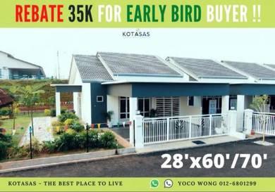 35k Rebate for EARLY BIRD, Super LEBAR rumah setingkat di KOTASAS !!