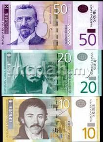 Serbia set 3 pcs 10 20 50 dinara unc
