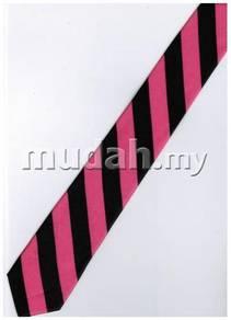 Pink Black Striped Formal Korean Slim Neck Tie