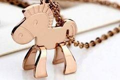 Pony-Themed 18K Rose Gold Pendant Necklace