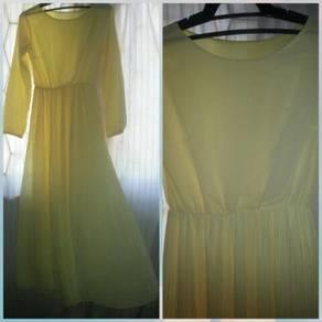 Dress kuning pastel