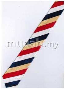 Red Yellow Blue White Striped Korean Slim Neck Tie