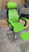 Lime Green Fabric Mesh Chair With Foot Rest