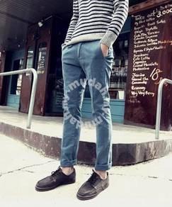 Dent Men Korean Casual Straight Pants - Light Blue