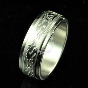 ABRSS-D002 Dragon-8 2 Layer Spin Stainless Ring