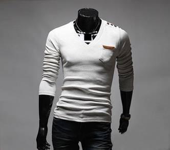 British Sportsman V-Neck Long Sleeve Slim T-Shirt