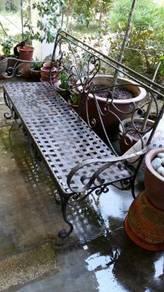 Rustic Cast Iron Garden Bench