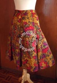 Floral Panel Flared Skirt