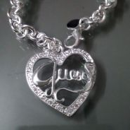ABPS9-H005 925 Silver Heart Guess Pendant Necklace