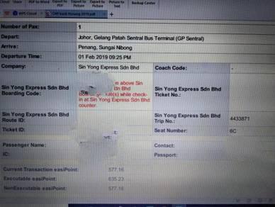 Bus Ticket-Johor to Sungai Nibong, Penang (01 Feb)