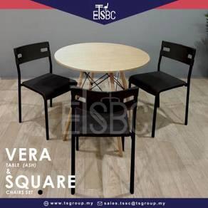 Vera table 80 cm + 3 square chairs
