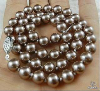 ABNJ-B004 8mm Brown Champagne Shell Pearl Necklace
