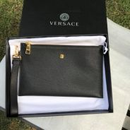 Versace Grained Calf Leather Palazzo Pouch