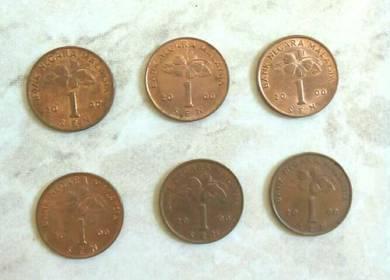 Duit syiling 1 sen BUNGA RAYA tahun 2000 6keping