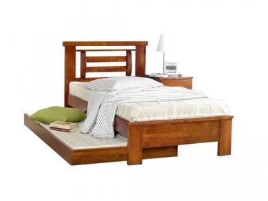 Katil kayu pull out bed bedframe perabot 421