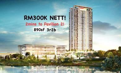 Bukit Jalil Rumahwip 300k 890sf bside Pavilion 2 near LRT OUG Kinrara