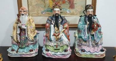 Chinese antique fuk luk sau porcelain statue SLG