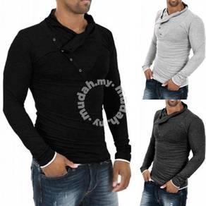 Button Scarf Piles Collar Long Sleeved Men T-Shirt