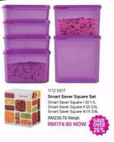 Tupperware smart saver square set (6 unit)