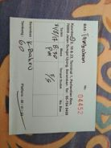 Tiket dari SEREMBAN KE KELANTAN 31/8/17 8.30 PM